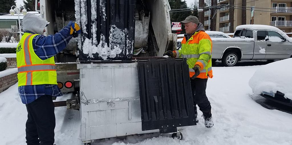 Two Men Putting Garbage in a Garbage Truck