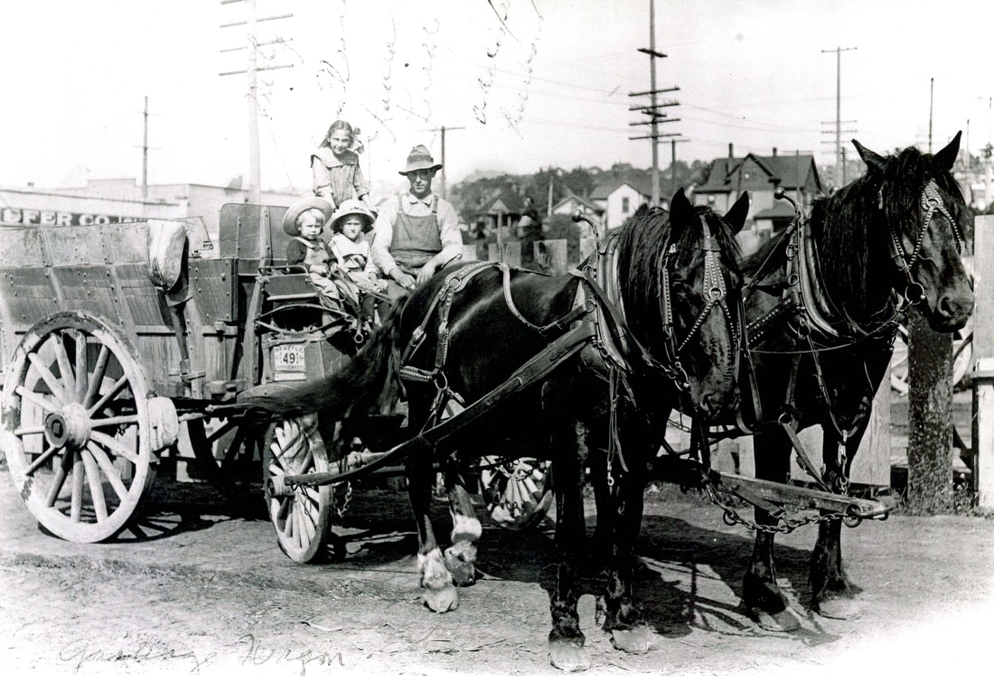Horses Standing & People Sitting on a Cart