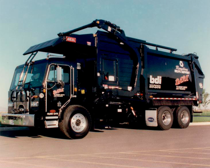 A Black Garbage Collection Truck